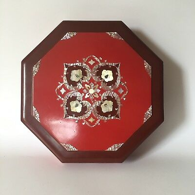 Japanese Container Box Mother of Pearl Red Lacquer Octagon Divided Tray