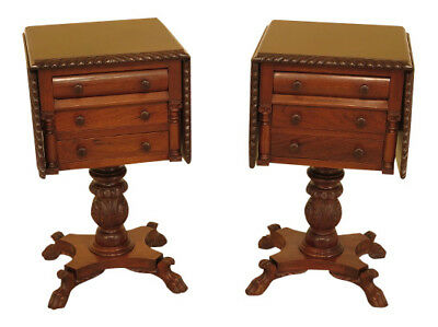 45622EC: Pair Duncan Phyfe Carved Mahogany Drop Side Empire Nightstands