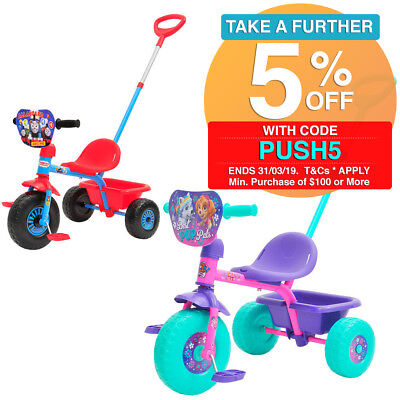 Ride On Bucket Bike Trike Parent Handle Toy for Kids Toddler Boys & Girls