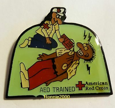 AED TRAINED HEALTH AND SAFETY  American Red Cross pin