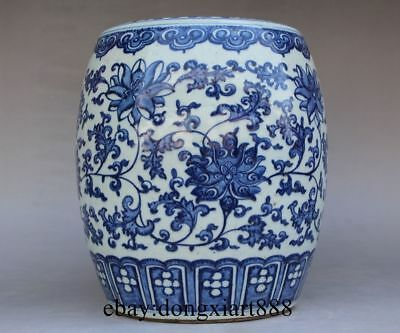 """9"""" Chinese Ancient Blue Porcelain Pottery Flower Plants Round Garden Low Stool"""