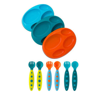 3pk Boon Large Platter Divided Plate 6pc Blue Cutlery Set for Toddler Kids