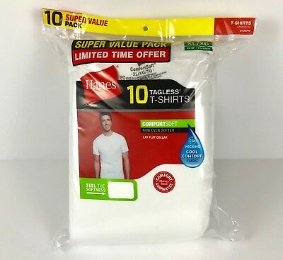 Hanes Mens T-Shirts 10-Pack White Tagless Crew Neck 100% Cotton Size Small