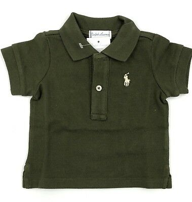 RALPH LAUREN Cotton Mesh Polo Shirt - Company Olive - Baby Boy NEW! NWT