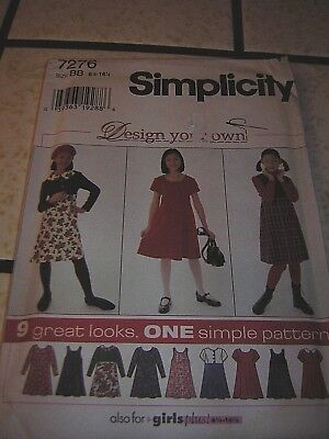 Simplicity Sewing Pattern 7276 Girl's Dress & Jumper 9 styles sz 8-16 Uncut