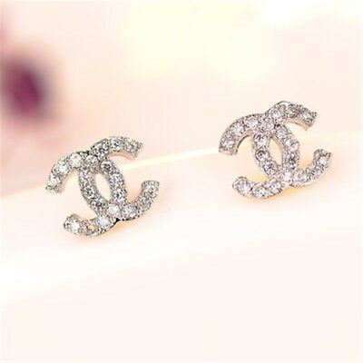 sale women Crystal alloy earrings fashion silver ear stud gift present P13 cc
