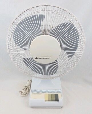 """Vintage WINDMERE 3 Speed 12"""" Oscillating Electric Fan White DF-12 Tested Cleaned"""