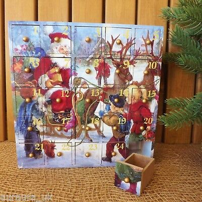 Victorian Scene Wooden Advent Calendar 25 Box Drawers Santa Sleigh & Reindeer