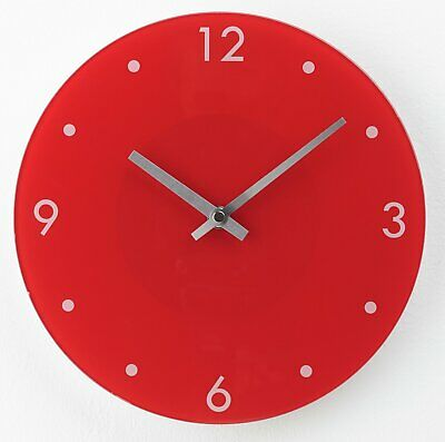Argos Home Round Glass Wall Clock - Red