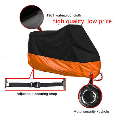 Motorcycle Cover Black XXL Waterproof Bike Outdoor Rain Dust UV Protector T9