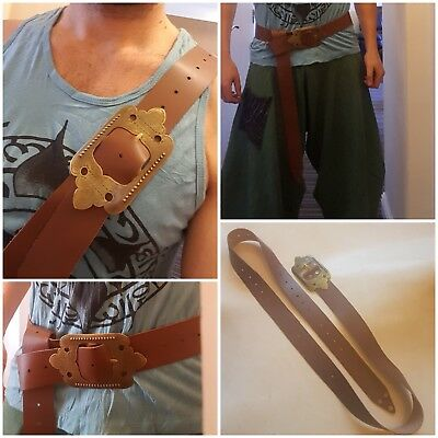 Handmade leather adventure belt for larp, reenactment, pirate, viking, medieval