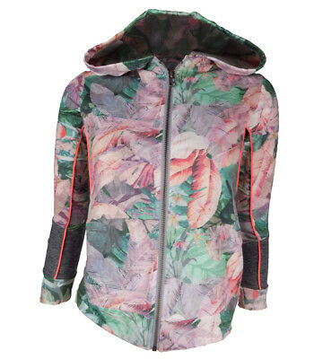 Girls Tropical Printed Zip Front Lightweight Sports Jacket Hooded UK 3 - 16yrs
