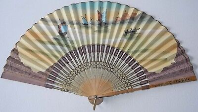 Early 20Th Century Probably Japanese Fan With Cut Out Ribs