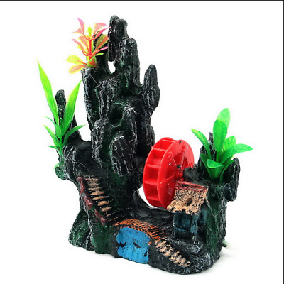 Aquarium Decoration Fish Tank Landscape Hill Air Bubbler Waterwheel Rockery Rock