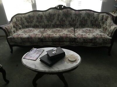 Kimball victorian sofa, chair, foot stool marble top coffee table