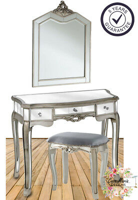 French Mirrored Dressing Table Grey Velvet Stool Chair and Mirror Vanity Set New