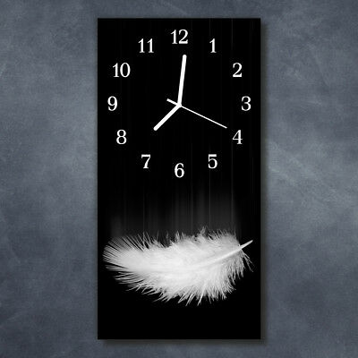 Glass Wall Clock Silent Kitchen Clocks 30x60 cm Feather Black