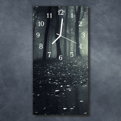 Glass Wall Clock Silent Kitchen Clocks 30x60 cm Forest Black