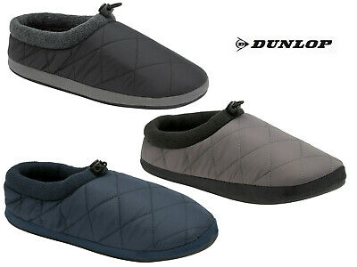 Mens Dunlop Slippers Mules Halwell Soft Quilted Padded Duvet Outdoor Sole