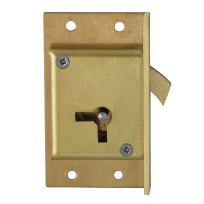 "SQUIRE LH Brass Sliding Cut Cupboard Door lock HOOK Bolt claw 2 1/2"" Brass"