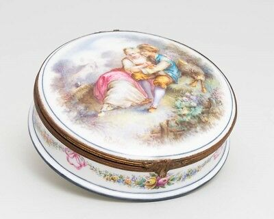 19th Century Sevres Porcelain 'Courting Couple' Powder Box Signed L. Bertren 6""
