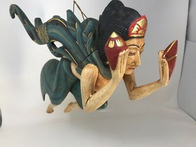 Large Vintage Egyptian Hand Carved Painted Sculpture