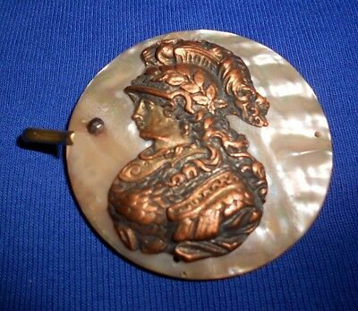 Greek Goddess Athena*Antique Copper Repoussé*Mother of Pearl Shell Belt Buckle