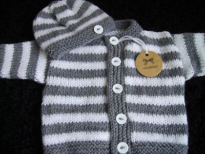 WOW lovely new hand knitted striped baby cardigan + hat set (NEWBORN)