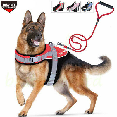 Soft Padded Adjustable Big Dog Vest Harness Leash Set for Large/Extra Large Dogs