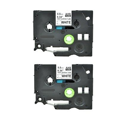 """2PK Heat Shrink Cartridge Label Black on White HSe221 For Brother P-Touch 3/8"""""""