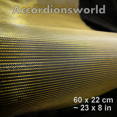 Accordion Grille Lining PVC Mesh, Gold Black/Gaze fur Akkordeon PVC Gold Schwarz