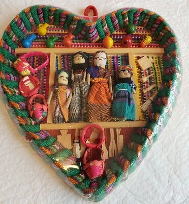 Guatemala Handmade Heart-Shaped Shadow Box Diorama w/Family of Dolls in House