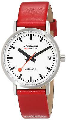 Mondaine Unisex Classic Automatic Red Leather Strap Date Watch A128.30008.16SBC