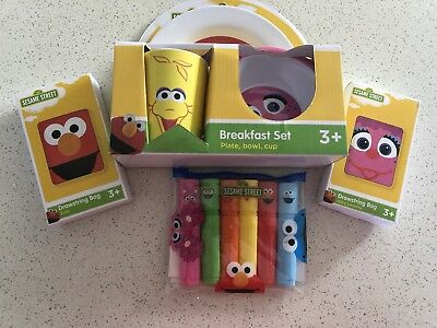 Sesame Street Drawstring Bag Plate Bowl Cup And Highlighters