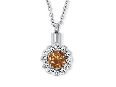 SmartChoice Keepsake Rhinestone Necklace Flower Pendant for Cremation Ashes w...