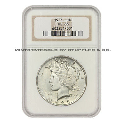 1923 $1 Peace NGC MS66 gem certified Philadelphia minted Silver one Dollar coin