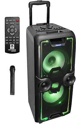 "iDance ""MEGABOX 2000"" Akku Sound Box Bluetooth USB MP3 Radio Funkmikrofon IR-FB!"