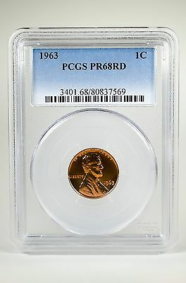 Pr68Rd 1963 Red Lincoln Penny Pcgs Graded 1C Proof Coin Liberty Us Pr68 One Cent