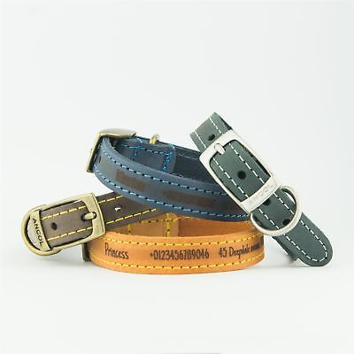 Dog Collars | Ancol Personalised Dog Puppy Collar Timberwolf Leather Leads Leash
