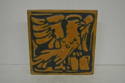 Antique Grueby Yellow Eagle Tile 8x8