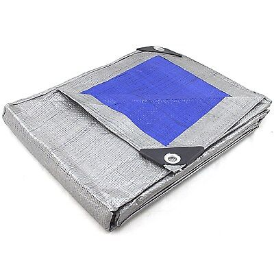 REVERSIBLE MULTI PURPOSE WEATHER RESISTANT POLY TARP Heavy Duty Reinforced Blue