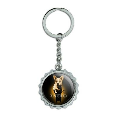 Superhero Dog Shadow Chrome Plated Metal Pop Cap Bottle Opener Keychain Key Ring