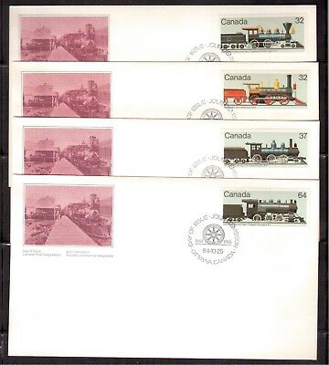 Canada 1984 First Day Covers Set Of 4 # 1036/39, Steam Locomotives !!r