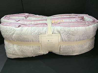 Pottery Barn Kid Cassandra BUMPER Belgian Linen Medallion Crib Baby Nursery NEW