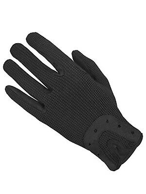 Horse Riding Gloves Ladies Dublin Track Fabric Gloves Leather Equestrian Black