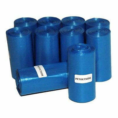 1035 DOG WASTE POOP BAGS 45 REFILL NOCORE BIODEGRADABLE ROLLS by PetOutSide Blue