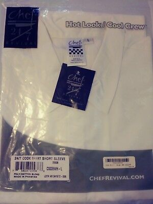 *NWT* CHEF REVIVAL CS006WH-L 24/7 Cook Shirt Short Sleeve White Large