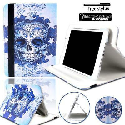 """Skull Universal Leather Rotating Stand Cover Case For 7"""" 8"""" 10.1"""" Tablet"""