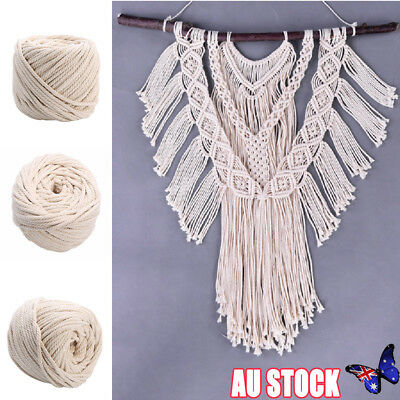 4/5/6mm Macrame Rope Natural Beige Cotton Twisted Cord Artisan Hand Craft 100M