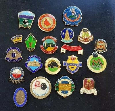 20 x QLD Bowling Club Badges **CLASPS REMOVED**